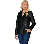 Denim & Co. Zip Front Faux Leather and Ponte Knit Jacket - A282371