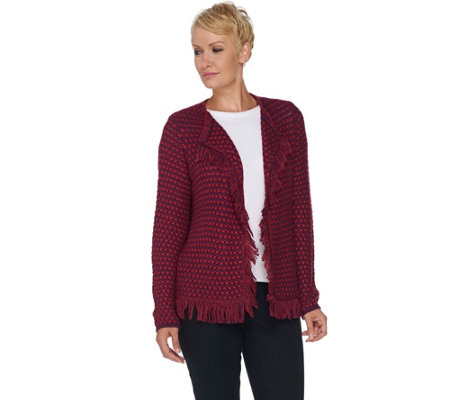 C. Wonder Boucle Knit Open Front Cardigan with Fringe