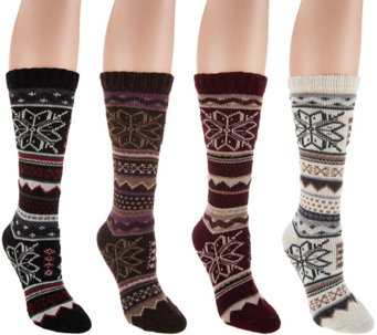 MUK LUKS Set of 4 Pairs Fairisle Crew Socks - A283271