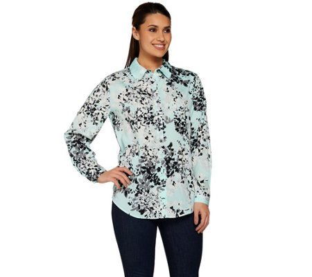 """As Is"" Susan Graver Printed Woven Long Sleeve Button Front Shirt"