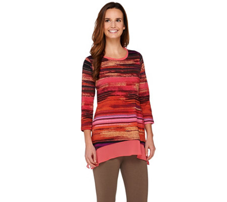 """As Is"" LOGO by Lori Goldstein Printed Knit Top with Chiffon Trim"