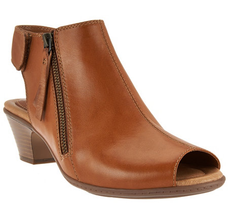 """As Is"" Earth Leather Peep-toe Booties - Kristy"