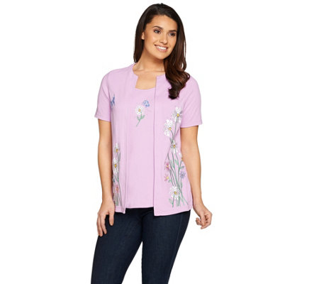 Quacker Factory Wildflowers Embroidered Short Sleeve Knit Duet