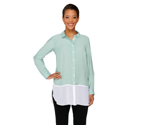 """As Is"" Styled by Joe Zee Button Front Boyfriend Shirt w/ Chiffon Hem"