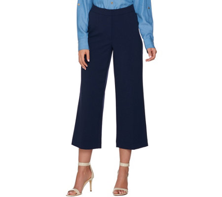 Susan Graver Chelsea Stretch Wide Leg Crop Pants
