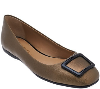 """As Is"" Judith Ripka Saffiano Leather Slip-on Flats with Buckle - Sally - A289871"