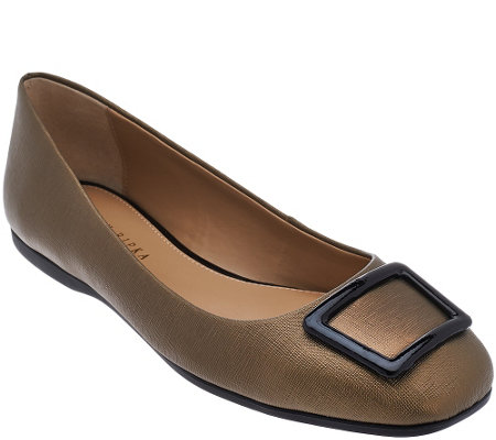 """As Is"" Judith Ripka Saffiano Leather Slip-on Flats with Buckle - Sally"