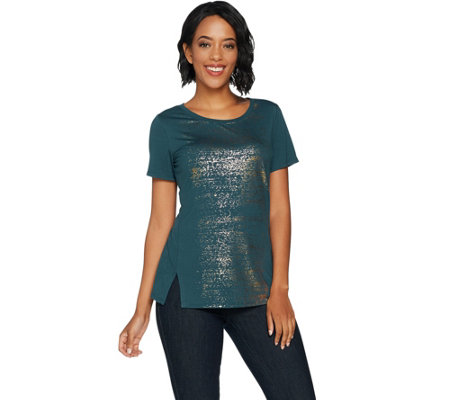 Lisa Rinna Collection Distressed Foil Printed Knit Top