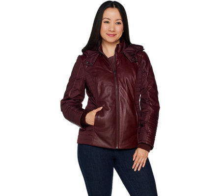 H by Halston Lamb Leather Motorcycle Puffer Jacket