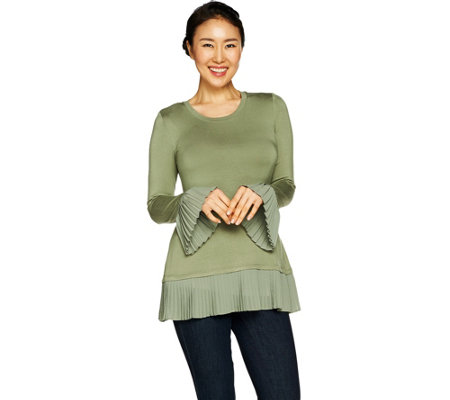 LOGO by Lori Goldstein Top with Pleated Chiffon Hem & Sleeves