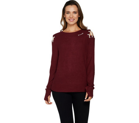 Peace Love World Comfy Knit Top w/ Shoulder Dtl & Affirmation