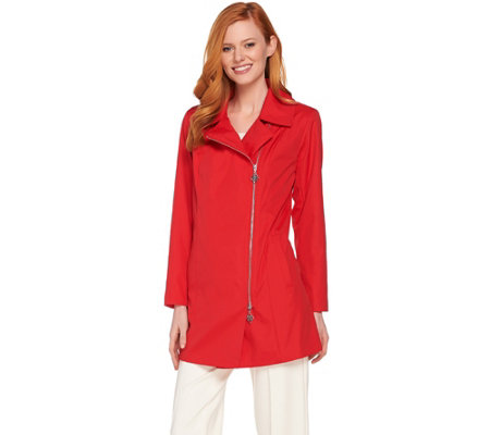Quot As Is Quot Dennis Basso Water Resistant Asymmetric Zip Front