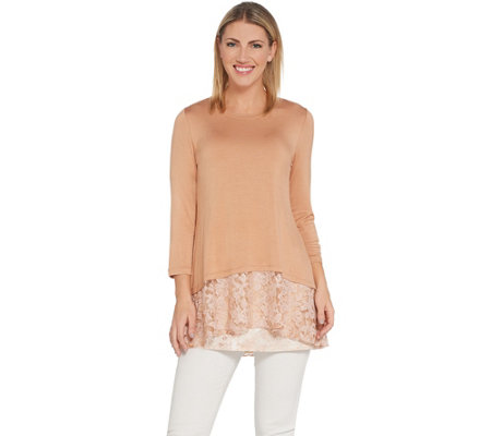 LOGO by Lori Goldstein Knit Top with Lace Band & Tank Twin Set