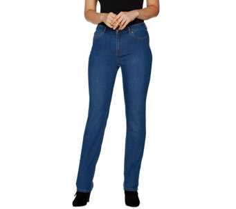 """""""As Is"""" Susan Graver Petite Stretch Denim Straight Leg Fly Front Jeans - A306071"""