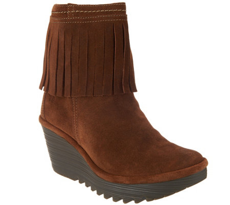 """As Is"" FLY London Suede Ankle Boots with Fringe - Yagi"