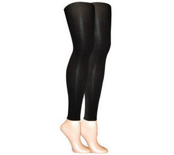 MUK LUKS Women's 2-Pair Pack Microfiber Footles s Tights - A330971