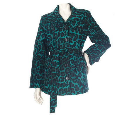 Linea by Louis Dell'Olio Stretch Cotton Leopard Print Jacket