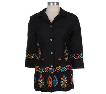 Linea by Louis Dell'Olio Embroidered Linen/Rayon Shirt Jacket - A05872