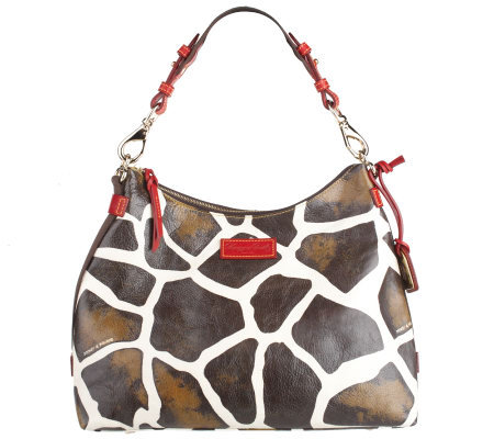 Dooney & Bourke Leather Giraffe Print Hobo Bag