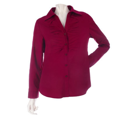 Kelly by Clinton Kelly Poplin Shirt with Novelty Pleating