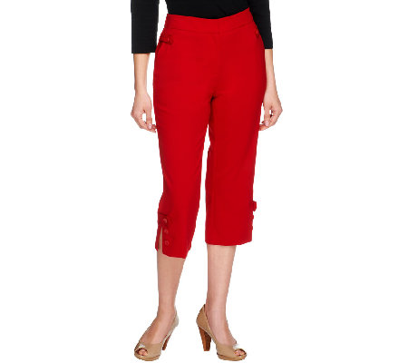 Susan Graver Chelsea Stretch Capri Pants with Button Tab & Slit ...
