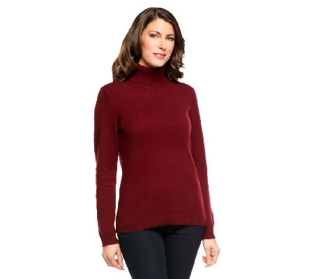 Isaac Mizrahi Live! 2-Ply Cashmere Long Sleeve Turtleneck