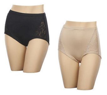 Barely Breezies Set of Two Lace Inset Brief Panties with UltimAir Lining - A219772