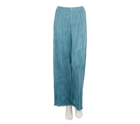 George Simonton Wide Leg Pleated Pull-on Pants w/Elastic Waist