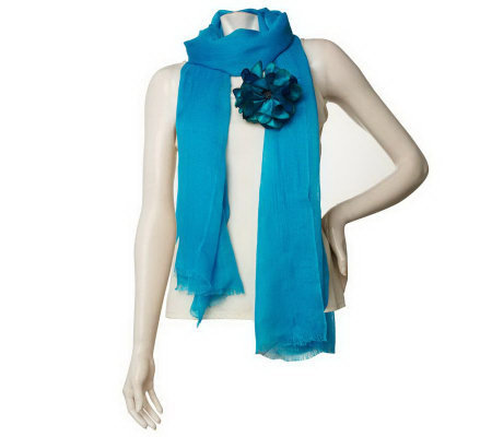 Wrap Scarf with Detachable Flower Pin by VT Luxe