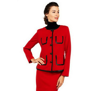Joan Rivers Ponte Knit Jacket with Faux Leather Trim - A228272