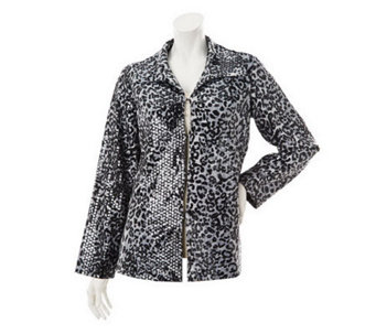 George Simonton Fully Lined Animal Print Jacket with Paillettes - A228572