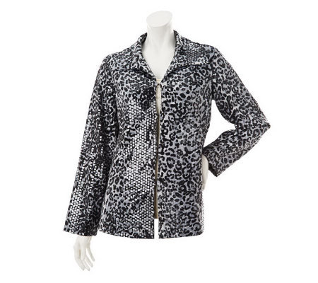 George Simonton Fully Lined Animal Print Jacket with Paillettes