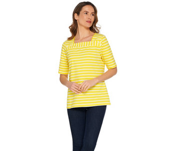 Denim & Co. Elbow Sleeve Striped Knit Top with Button Detail - A231872