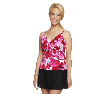 DreamShaper by Miraclesuit Amy Ruffle Tankini with Skirtini