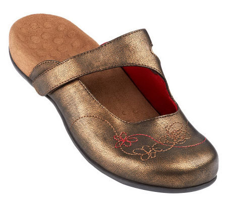 Vionic Orthotic Mules w/ Floral Stitch Detail - Jane