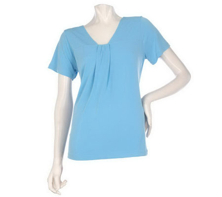 """As Is"" Susan Graver Liquid Knit Shirred V-neck Short Sleeve Top"