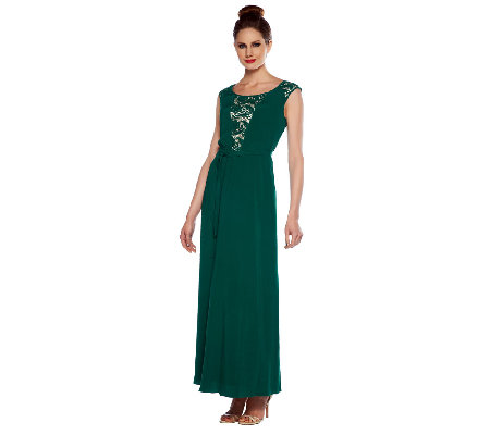 Edge by Jen Rade Silk Blend & Lace Maxi Dress with Self Belt