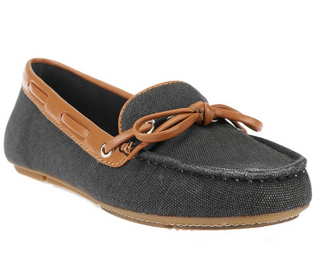 Liz Claiborne New York Canvas Moccasins with Bow Detail