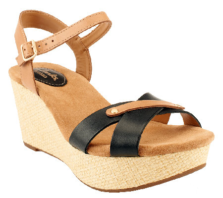 Clarks Artisan Leather Wedge Sandals - Caslynn Regina