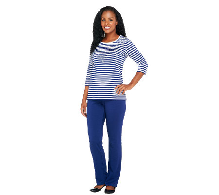 Quacker Factory Striped T-shirt and Pants Set
