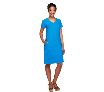 Linea by Louis Dell'Olio Short Sleeve Knit Dress with Pockets - A254472