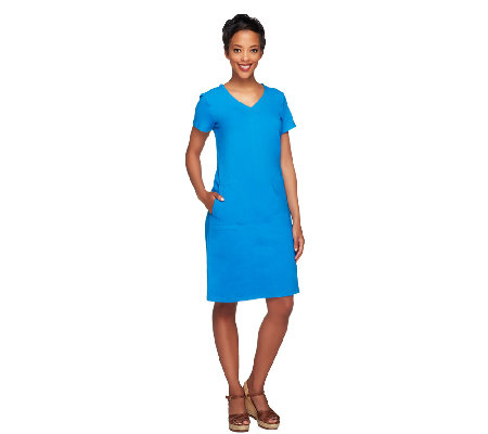 Linea by Louis Dell'Olio Short Sleeve Knit Dress with Pockets