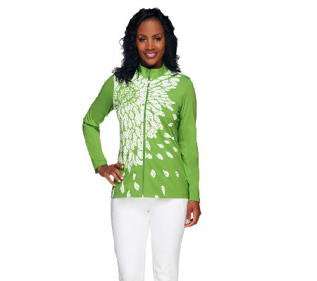 Susan Graver Printed Weekend Cotton Spandex Zip Front Jacket