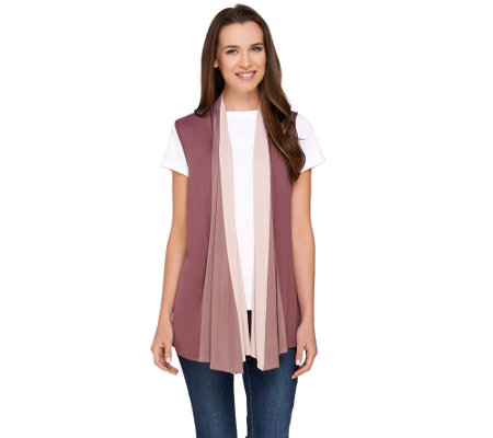 LOGO by Lori Goldstein Color-Block Drape Front Knit Vest