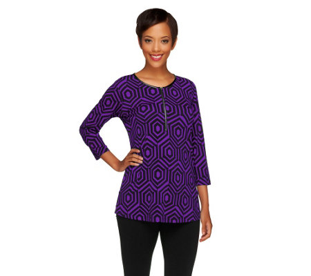 Susan Graver Printed Liquid Knit 3/4 Sleeve Half Zip Top