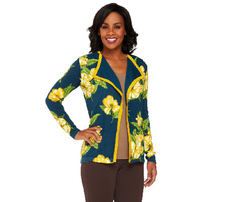 Isaac Mizrahi Live! Floral Printed Open Front Cardigan