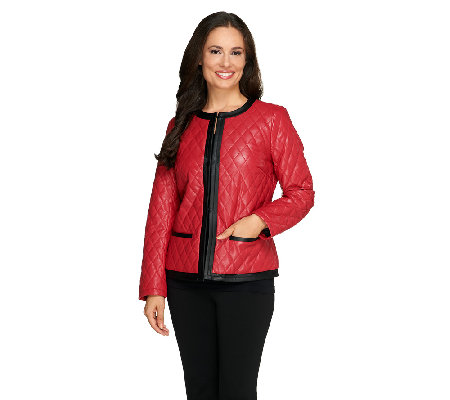 Joan Rivers Quilted Faux Leather Jacket