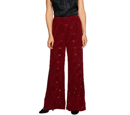 Bob Mackie's Pull-On Textured Knit Pants with Sequins