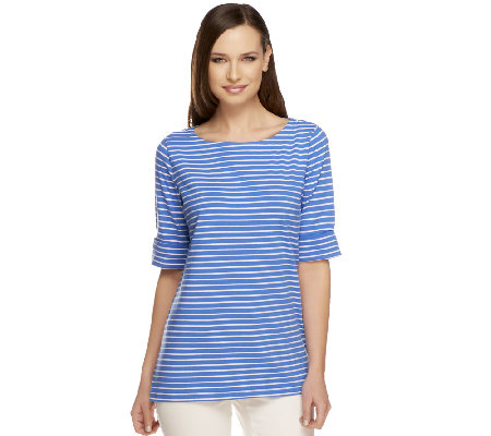 """As Is"" Susan Graver Stretch Cotton Bateau Neck Elbow Sleeve Top"
