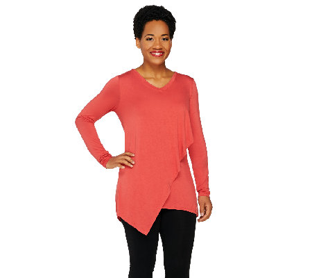 LOGO by Lori Goldstein Long Sleeve Knit Top with Angled Overlay